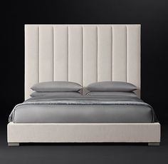 $3311 Vertical Channel Panel Fabric Platform Bed