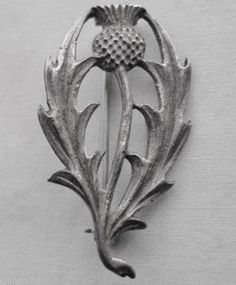 Signed TE plus 3 Hallmarks THISTLE PIN Scottish MARKINGS may Indicate STERLING