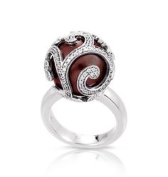 Beauty Bound Collection; Merlot Ring; Burgundy seashell pearls with white stones set into rhodium-plated, nickel allergy-free, 925 sterling silver.