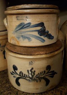 LOVE salt glazed stoneware/crocks.. Antique Crocks, Old Crocks, Primitive Antiques, Stoneware Crocks, Antique Stoneware, Earthenware, Glazed Pottery, Glazes For Pottery, Ceramic Pottery