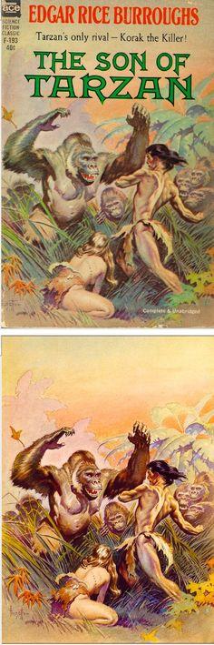FRANK FRAZETTA - The Son of Tarzan - Edgar Rice Burroughs - 1963 Ace F-193 - cover by isfdb - print by erbzine.com