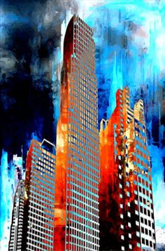 ARTFINDER: Towers II by Neil Hemsley - A digital painting of a futuristic tower cityscape. Strong bold colours are use to make this a striking piece.    Presented as a limited edition cotton canva...