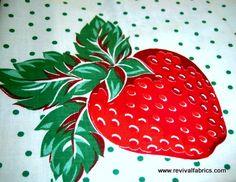 Vintage Strawberry Print Fabric