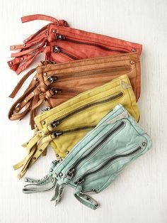 Free People distressed double zip wallet