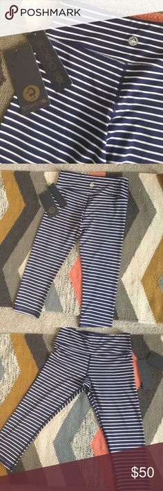 Scorpio Sol blue and white Quiet Stripe Legging -small hidden pocket right front hip for    -NWT! Navy blue and white  -soft squat approved and make your  look  -illuminated dupe of their quiet stripe Legging -this is for the shorter cropped Legging that hits below knee to mid calf depending on how tall you are! Scorpio Sol Pants Leggings