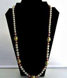 Vintage Japan Pink White Cloisonne Beaded Necklace by ediesbest, $19.95