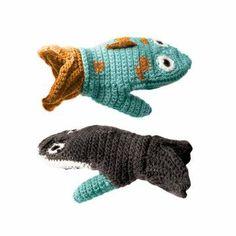 Crochet shark and fish mittens