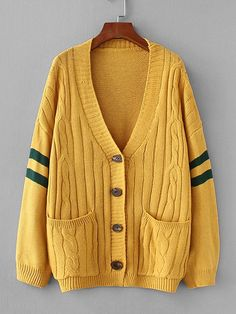 735ee168cc Varsity Stripe Cable Knit Coat -SheIn(Sheinside) Cardigan Sweaters For  Women, Cable