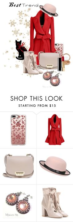 """""""Best winter trend"""" by miriamart ❤ liked on Polyvore featuring Casetify, WithChic, ZAC Zac Posen, Pilot, Mariah Carey, Valentino, Winter, Pink, romantic and earrings"""