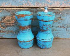 Turquoise Salt Shaker and Pepper Grinder by turquoiserollerset, $18.00