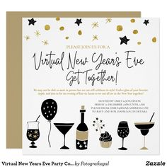 Virtual New Years Eve Party Cocktails Gold Black Invitation New Years Eve Invitations, Holiday Invitations, Custom Invitations, Party Invitations, Christmas And New Year, Christmas Cards, Christmas Eve, Christmas Cocktail Party, New Years Eve Party