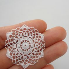 Miniature crochet round doily in white 1:12 dollhouse