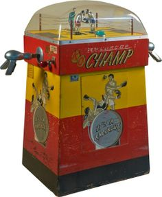 "10 Cent ""K.O. - Champ"" Arcade Boxing Skill Game c1955, by International Mutoscope Corp., New York ""It's A Knock-Out!"""