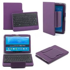 SUPERNIGHT Bluetooth Keyboard Case Cover for Samsung Galaxy Tab 4 10.1 & Note 10.1 2014 Edition Tablet - Purple
