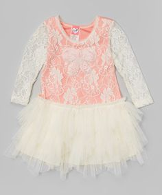 Love this Ivory & Coral Floral Lace Dress - Infant & Toddler on #zulily! #zulilyfinds