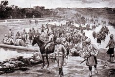 British troops of the Brigade crossing the river by the Dam at the Battle of Modder River on November 1899 in the Boer War South Afrika, Troops, Soldiers, Battle, Africa, British, River, History, November