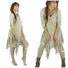 Asymmetric Shabby chic tunic long lace boho by LaCaravaneTzigane
