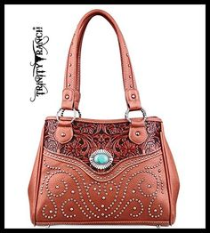 Trinity Ranch Swirl Studded Tote w/ Tooled Leather Accents- Brown