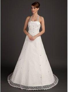 A-Line/Princess Halter Court Train Satin Lace Wedding Dress With Ruffle Beadwork (002015493)