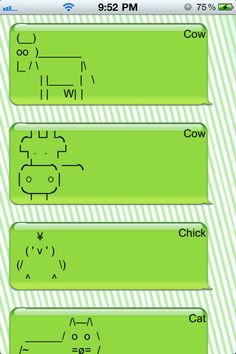 cool text symbols animals | +Text Picture Keyboard- Creative SMS/Facebook Art for iPhone Texting ...