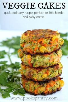 Crispy, easy veggie cakes made with grated vegetables – carrots, zucchini, broccoli and corn. Great for lunches, side dish or your small picky eaters. Fluffy Vegetable Cakes perfect for a side or a Meatless Monday meal Tasty Vegetarian Recipes, Good Healthy Recipes, Whole Food Recipes, Healthy Snacks, Healthy Eating, Vegaterian Recipes, Red Lentil Recipes, Vegetarian Meals For Kids, Carrot Recipes