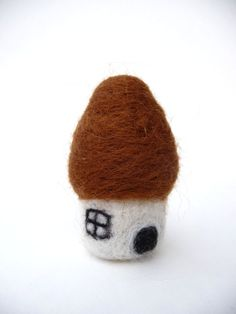Gnome mushroom house needle felted from pure by WillowandQuail, $14.00