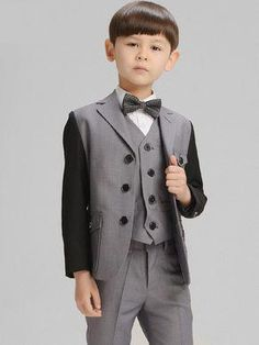 b7b6c7885 Children Gray Blazer Prom Wedding Boys Suits Leisure Jacket Trousers Vest  Bow Tie Set High Quality Kids Casual Clothes by HHCbridal on Etsy