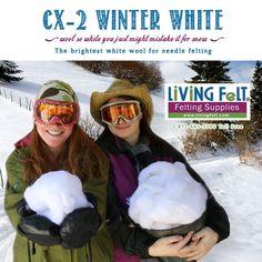 Bright White Felting Wool: CX-2 Winter White