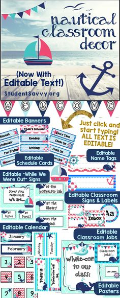 Nautical Classroom Decor Set! Editable printables to fit my classroom needs! Check out the link for more classroom decoration ideas
