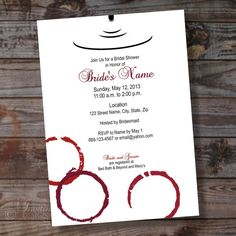 wine theme custom bridal shower party invitation 4 ready to print or printed