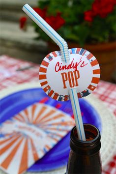 4th of july printables for straws, sparkler party favors and goodie bags
