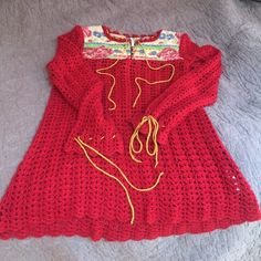 FREE PEOPLE CROCHET SWEATER Red w/ Mustard ChainStitch Strings. Quilted Top of neck / front & back. Brass Buttoned Front. Unique draw string neckline and wrists. Free People Tops