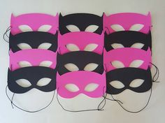 ***ASSEMBLED MASKS ARE ONLY $1.25 EACH - Please choose how many masks you would like TOTAL from the drop-down menu when ordering. All assembled masks are cut out of Craft Foam with black elastic tied with slip knot on one side to make adjustable to fit most. ***ORDER INCLUDES - -- Pink Batgirl Inspired Style Masks -- Black Batman Inspired Style Masks (If the number of masks ordered is not equally divisible by 2 then the extra mask(s) will be chosen randomly.) ***ORDER WILL INCLUDE AN EQUAL…