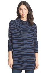 NIC+ZOE 'Stacked Stripes' Cotton Blend Mock Neck Top