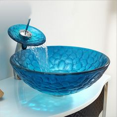 Buy (In Stock)Mediterranean Blue Round Tempered Glass Sink and Waterfall Faucet Set with Lowest Price and Top Service! Vanity Basin, Glass Vanity, Mediterranean Art, Round Sink, Square Sink, Waterfall Faucet, Glass Vessel Sinks, Crackle Glass, Glass Material