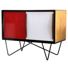 Willy Van Der Meeren Console Belgium 1950's outstanding metal frame/wood console cabinet with metal sliding doors