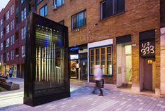 Lux Obscura - KM3 | Les productions du Partenariat | Quartier des spectacles Art Public, Spectacle, Garage Doors, Outdoor Decor, Shutter Blinds, Lush, Carriage Doors