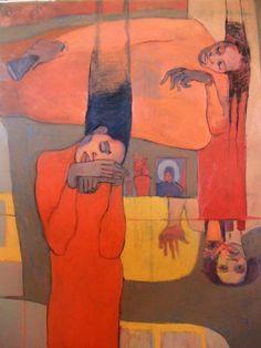 "Lucía Méndez Rivas - Pintora ""El sueño"" 102 cm X 77 cm Oil and charcoal on canvas - Available"