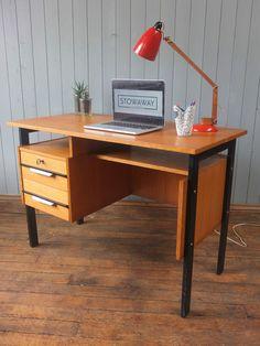 Vintage Mid Century Wooden Desk With Black Handles & Trim CAN DELIVER
