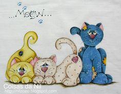 gatinhos pintados em tecido com efeito patch