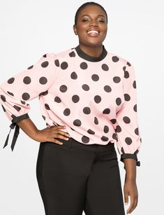 1aed21cd564 Printed Blouse with Bow Cuff from eloquii.com Plus Size Tops
