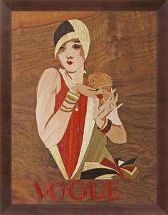 grandioses Art Deco Vogue Magazin Cover der 1920s von Jupp Wiertz Marketerie handgemacht Interieur elegante Intarsien von HolzundLeinen auf Etsy