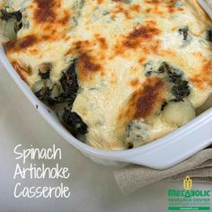 Spinach Artichoke Casserole. Need the perfect party dip?  Love ooey, gooey spinach dip?  You have to try our recipe for Spinach Artichoke Casserole.  This is an MRC client favorite year after year and with your first bite you'll understand why.