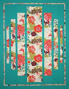 This is a quilt but a great idea for a card too, using scrap print paper.