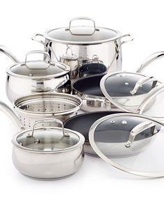 Belgique Stainless Steel 11 Piece Cookware Set with Nonstick Sauté Pan & Fry Pan