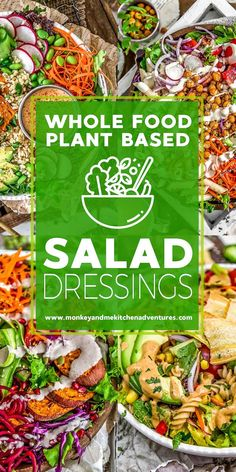 We've gathered a delicious list of Whole Food Plant Based Salad Dressings that are healthy, oil free, and sure to make your belly happy! #wholefoodplantbased #vegan #oilfree #glutenfree #plantbased | monkeyandmekitchenadventures.com