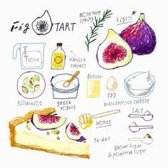 김혜빈 @moreparsley Instagram photos | Websta Fig Tart, Recipe Drawing, Sketch Note, Dessert Illustration, Food Doodles, Watercolor Food, Food Painting, Food Journal, Food Drawing