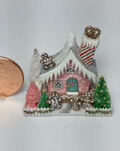 OOAK Miniature Dollhouse Christmas Putz Gingerbread Cottage House