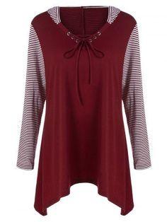 GET $50 NOW | Join RoseGal: Get YOUR $50 NOW!http://m.rosegal.com/plus-size-t-shirts/plus-size-asymmetrical-striped-hooded-901689.html?seid=oj08kkd72e6gqhhpgekm8l1a60rg901689