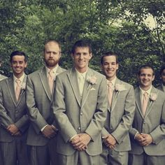 white tie for the groom and colored ties for the groomsmen.